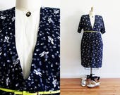 Plus Size - Vintage Navy & White Printed Shirt Dress (Size 14)