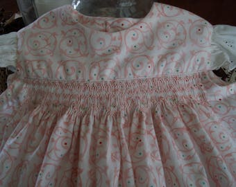 Size 3T hand smocked summer sundress with lace angel sleeves
