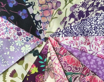 "12 x 5"" Squares - Pinks & Purples Lucky Dip Pack of Liberty London Tana Lawn"