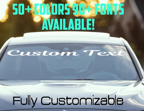 Custom Windshield Decals Word And Number Car Truck Window - Car window decals personalized