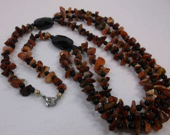 Orange and Black Stone Necklace 18 inch w Lobster Claw Closure