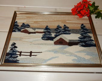 Swedish hand woven wall hanging / flemish /  a house / winther / 1970s