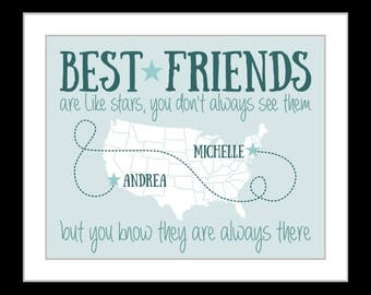 Best Friend Birthday Gift, Personalized BFF Bestie Present Unique Best Friends Gift Ideas Custom Art Print Moving Go Away College Friendship