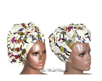 African Head Scarf/ African Head Scarves/ African Head wrap/ African Turban wrap/ African headwrap/ cream/Tess World Designs/ HT191
