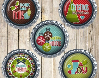 Christmas magnets - Earth magnets - Deck the halls - Happy Holidays - Joy - Christmas blessings - Merry Christmas - Secret Santa Gifts