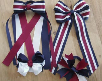 School Hair Bows, School Hair Accessories, Streamers, Made to Order