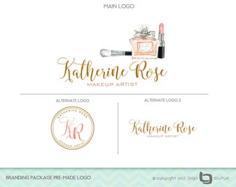 Makeup Logo Design, Set of 3 Logos - Branding Package Premade Logo - Makeup Artist Logo - Lipstick - Makeup Brush - Makeup Branding Package