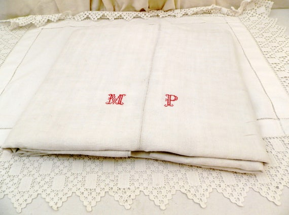 Antique Excellent Condition French Hand Loomed Hemp and Linen Sheet Embroidered Red Cross Stitch Monogram Letters M P, Tablecloth France