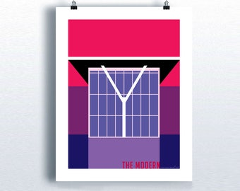 "The Modern - Art Museum of Fort Worth, 11"" x 14"", Fine Art Giclee print, Atomic Mid Century Modern style poster, Pop Art, Architecture print"