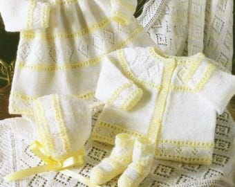 Baby Knitting Pattern Dress Cardigan Bonnet Bootees Shawl 4 ply 12-18 inch chest    instant download