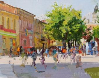 Original Oil Painting, Modern Art City Painting, Wall Art Housewarming Gift, Cityscape Artwork Tree Oil Art