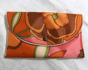 Vintage Floral Fabric Snap Pouch Purse Wallet 6.5 x 4 vinyl lined