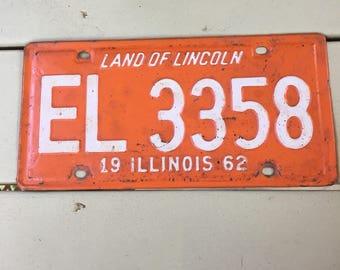 Vintage 1962 Illinois License Plate