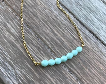 Mint Beaded Bar Necklace