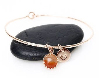 Genuine Carnelian Bracelet / Carnelian Charm Bangle / July Birthstone / New Mother Gift / July Birthday Gift for Her / Orange Gemstone Charm
