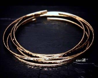 14k Gold Filled Bangles Set / Valentines Day Gift / Hammered Silver or Gold Stacking Bangles / Rose Gold Textured Bangle Bracelets