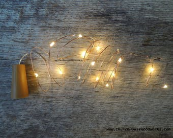 LED Wine Bottle Cork Lights, Battery Operated Fairy Lights, Rustic Wedding Decor, Room Decor, 6.6 ft, Warm White Copper Strand String Lights