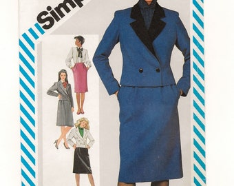 "A 3-Piece Suit Pattern for Women: Slim Skirt, Long Sleeve Blouse & Short Double-Breasted Jacket - Uncut - Size 12 Bust 34"" • Simplicity 6165"