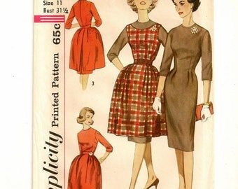 "A Sheath Dress with Sleeveless Back Button Jumper-Tunic and Button-On Full Overskirt Pattern: Retro Size 11, Bust 31-1/2"" • Simplicity 3593"