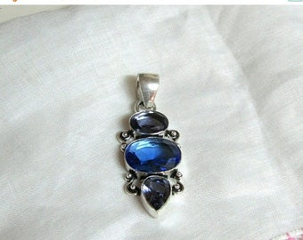 Summer Sale Large Blue Topaz and Iolite Colored Quartz Pendant in a Modern Style Setting, .925 Silver Setting