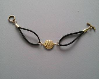 Flower Of Life Bracelet / Faux Suede Bracelet / Gold Charm Bracelet / Boho Jewelry