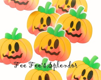 2 pc set- Halloween Pumpkin planar resin- Jack O Lantern Hair bow center - Cabochon Flatback resin