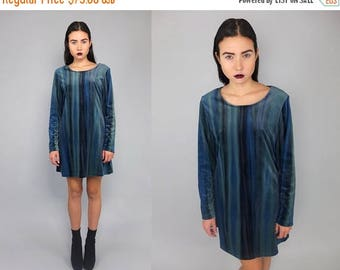 40OFF Vintage 90s Black Turqoise Green Velvet Scooter Mini Dress S M