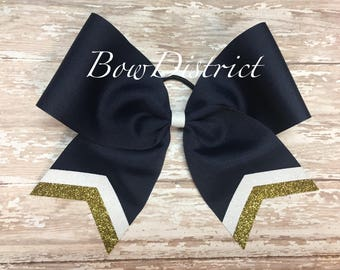 """3"""" Light or Dark Navy Blue Team Cheer Softball Volleyball Bow with White and Gold Glitter Tail Stripes"""