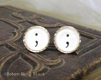 Semicolon Glass Cab Earrings - Vintage Stamped Letterpress Punctuation Symbol in Vintage Goldtone Posts - Old English, Gothic