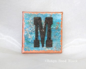 Rustic Letter M and Painted Verdigris Magnet 2 X 2