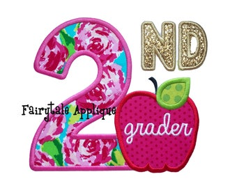 Digital Machine Embroidery Design - 2nd Grader Applique