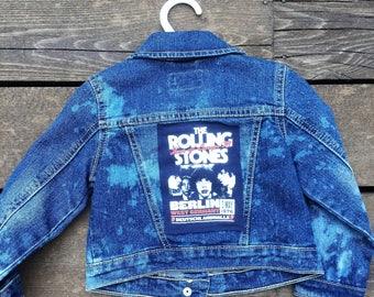 distressed Rollingstones tshirt toddler denim jacket