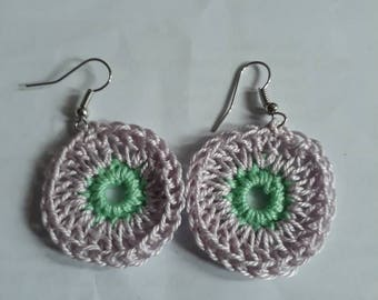 Handmade crochet earrings, lilac crochet earrings, festival earrings, summer earrings