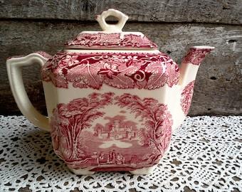 Masons Vista  Red and White Tea Pot - English Transferware - Serving - Tea Pot - Red Transferware, Kitchen, Dining, Patent Ironstone