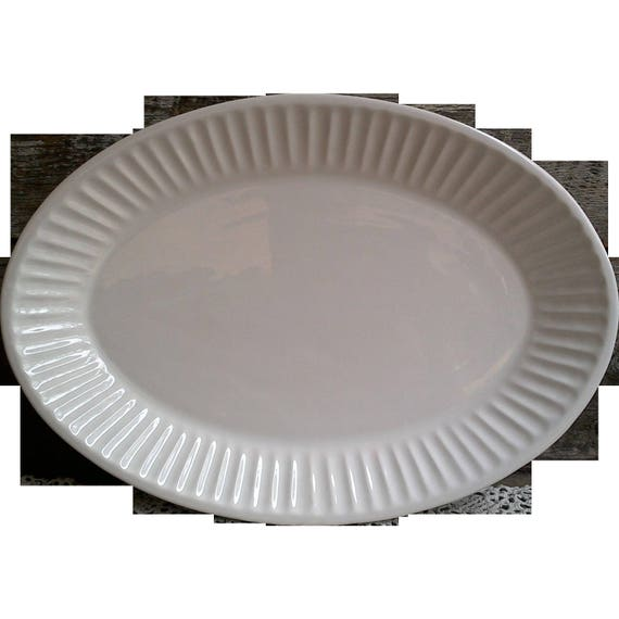 PLAIN WHITE Stoneware Platter Oval Made in Portugal