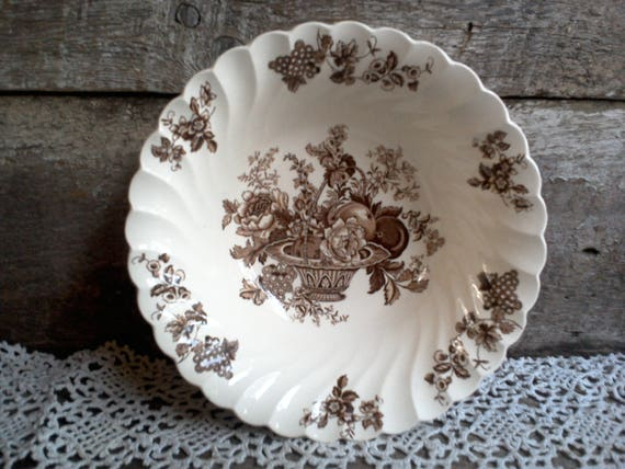 "Brown Floral Bowl, Myott Staffordshire ""Bountiful"", English Transferware, English Bowl, Veggie Bowl, Serving Bowl, Large bowl"