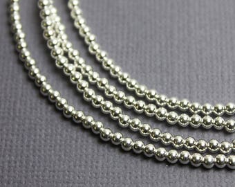 Silver Bead Necklace, Single Strand Silver Necklace, Sterling Silver 2.5mm Bead Necklace, Beaded Necklace, Layering Necklace, Kathy Bankston