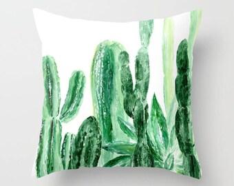 Cactus Throw Pillow, green white pillow, plant throw pillow, modern throw pillow, green throw pillow, succulent pillow, cactus pillows