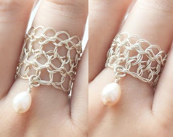 Silver Pearl Rings | Freshwater pearls jewelry | Sterling silver wire crochet jewelry | June birthstone
