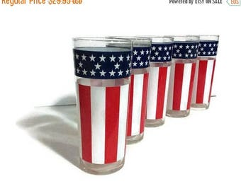 Vintage Set of 5 American Flag Tom Collins Drinking Glasses, Patriotic Glassware, 4th Of July, Red White & Blue tumblers, stars and stripes