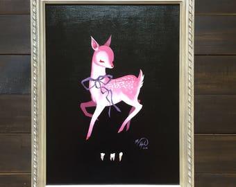 "Framed acrylic painting, ""Sweet"" creepy cute art, pastel goth, deer, fawn, pop surrealism, woodland"
