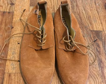 Tan suede lace up oxfords