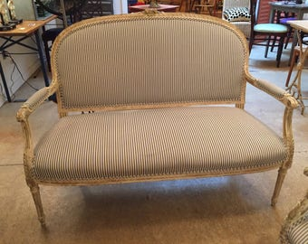 SOLD Antique French Settee Ticking Upholstery