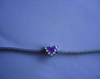 Purple and silver metal heart bead
