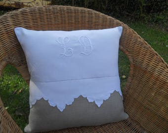 linen cushion front scalloped monograms LD old linen cloth and