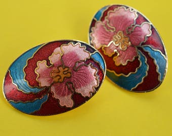 Vintage Earrings Enamel Cloisonne Orchid Flower