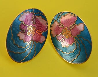 Vintage Turquoise Enamel Genuine Cloisonne Orchid Flower Earrings 1980s