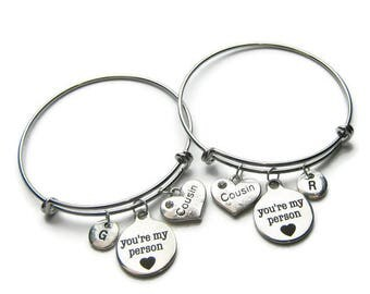 2 You re My Person Cousins Bangle Bracelets, Two Cousins,  2 Cousins Bracelets, Cousins Bangles, Bracelets For Cousins ,Personalized