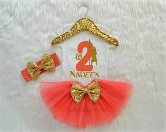 Baby Girl Second Birthday Bodysuit, Disney Moana Inspired Theme, Two Coral Glitter, Headband Tutu outfit gold bow Short long sleeve 339