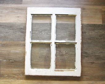 Window Frame Four Pane Window With Glass Vintage Window Sash